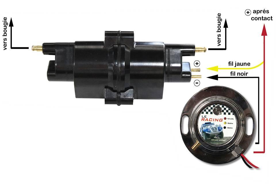 Pour information, le circuit du « + » après contact est le fil anciennement branché sur la borne « + » de la bobine. Votre allumage électronique est ainsi monté et câblé. (L'image montre le câblage finalisé.)